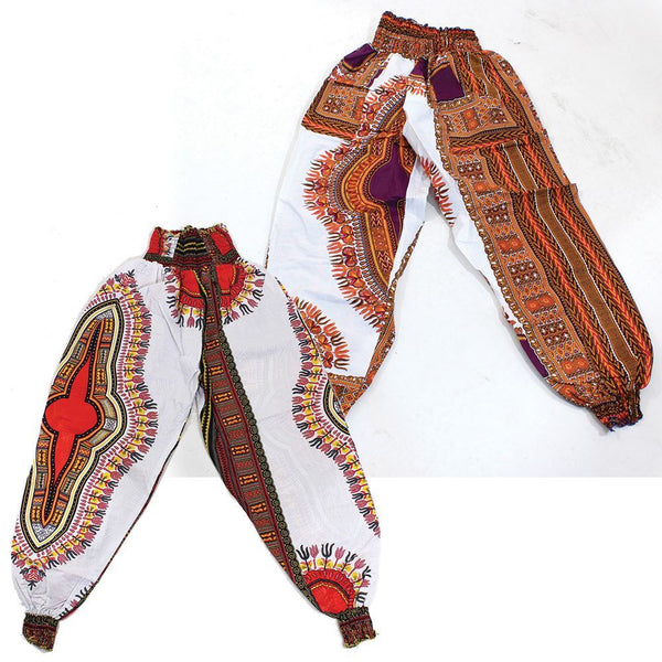 Traditional Print Harem Pants White African Pant Suits