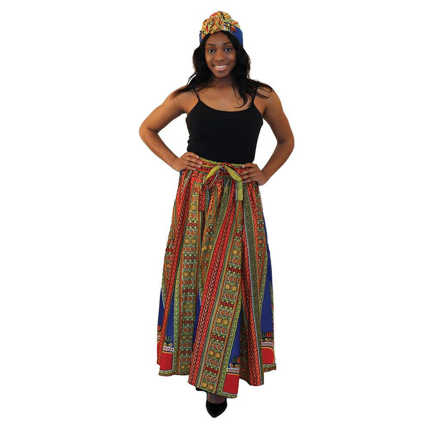 Traditional Print Paneled Skirt Blue Womens Skirts