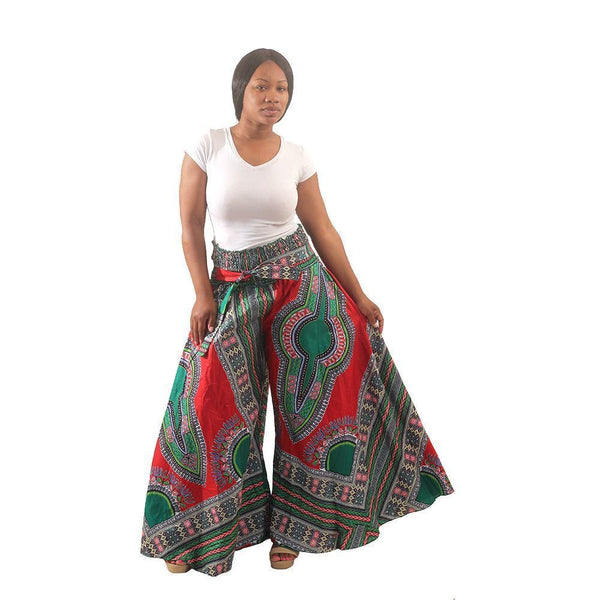 Traditional Print Gaucho Pants Red African Pant Suits