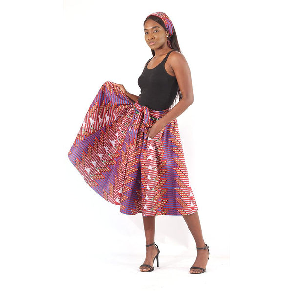 Interwoven Print Skirt Red Womens Skirts