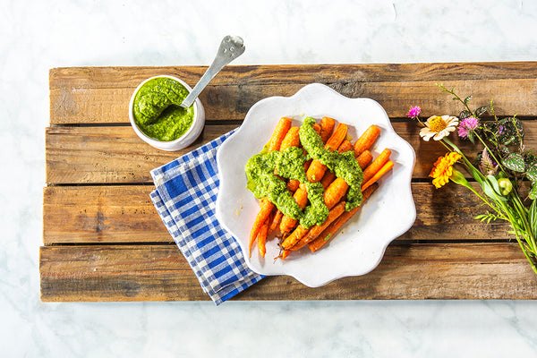Roasted Carrots with Spinach and Pecan Pesto
