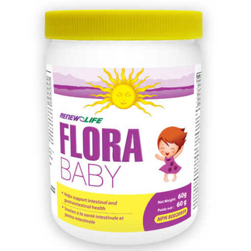 Renew Life FloraBABY is a blend of probiotics (good bacteria) that is specifically formulated for the intestinal tract and colon of children.