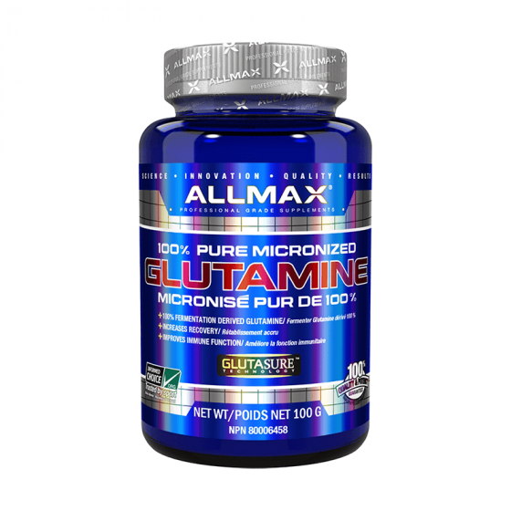 Allmax Glutamine 100 Grams. Reduces Muscle Soreness. Increases Recovery