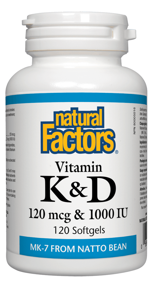 Natural Factors Vitamin K & D 120 capsules | YourGoodHealth