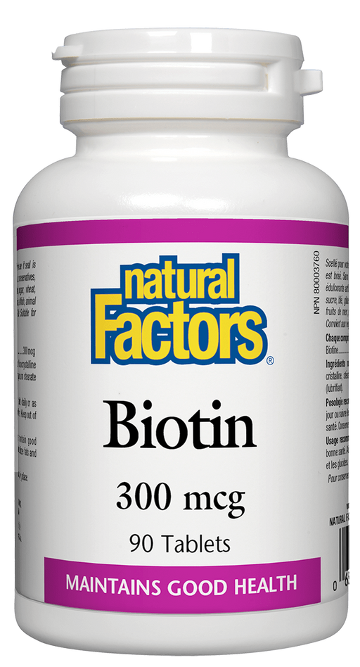 Natural Factors Biotin 300 mcg 90 tablets.  Encourages the Growth of Strong, Thick, Healthy Hair. Strengthens Nails and Reduces Brittleness.