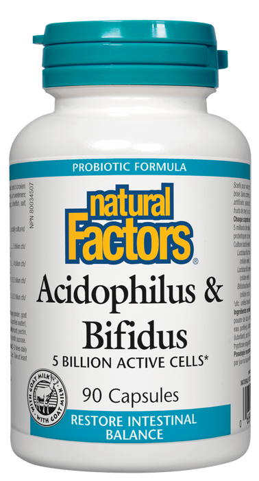 Natural Factors Acidophilus & Bifidus 90 capsules | YourGoodHealth