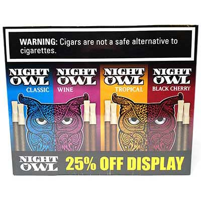 Night Owl Variety Display Pipe Tobacco Cigars 120ct