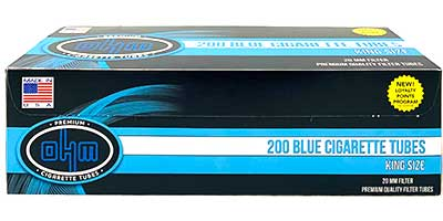 OHM Cigarette Tubes Blue King Size 200 ct