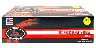OHM Cigarette Tubes Red 100 200 ct