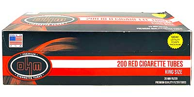 OHM Cigarette Tubes Red King Size 200 ct