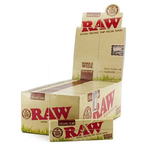 RAW Organic Hemp Single Wide Rolling Papers 25ct Box (100 Leaves)