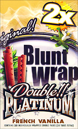 Double Platinum Blunt Wraps French Vanilla 25 Packs of 2