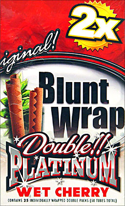Double Platinum Blunt Wraps Wet Cherry 25 Packs of 2