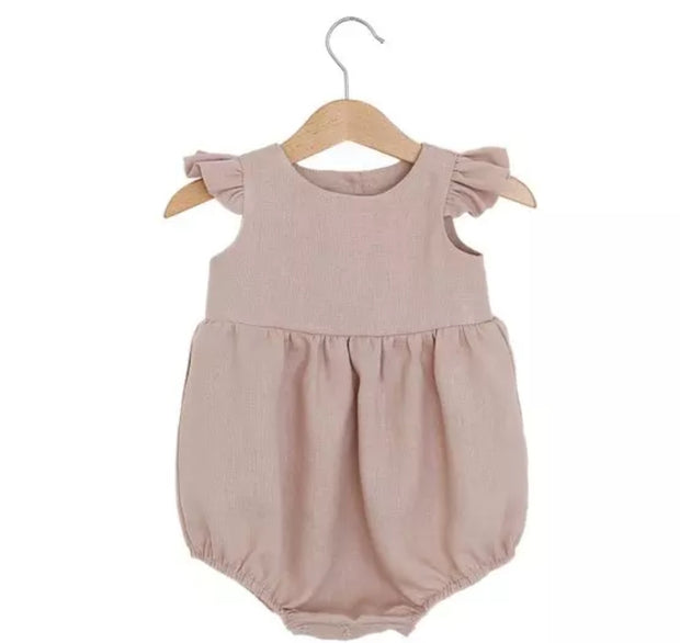 Valentina Linen Romper - Luna Bella Designs Melbourne | Kids Clothing