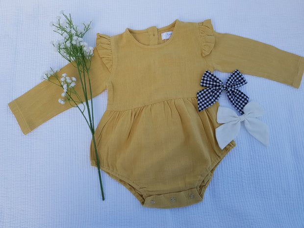 Long Sleeve Linen Romper - Luna Bella Designs Melbourne | Kids Clothing