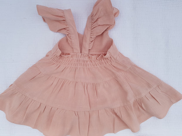 Dusty Pink Linen Giorgia Dress - Luna Bella Designs Melbourne | Kids Clothing