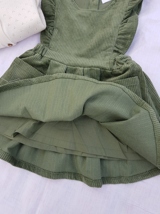 Olive Green Corduroy dress - Luna Bella Designs Melbourne | Kids Clothing