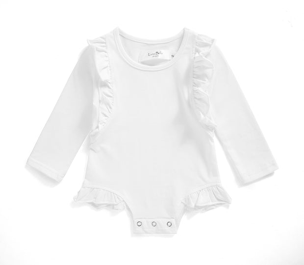 Luxe White Leotard - Luna Bella Designs Melbourne | Kids Clothing