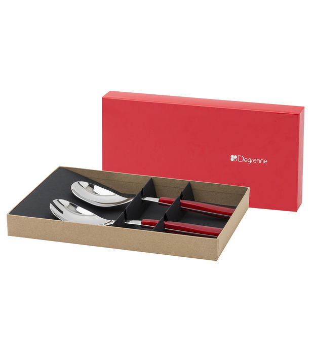 Degrenne Salad Set. Gift box includes 2 serving pieces in stainless steel with red handles.