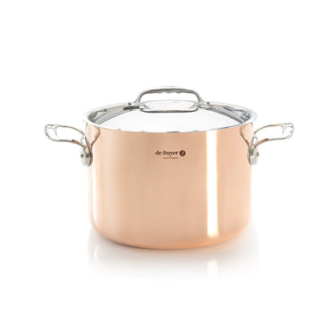 de Buyer Prima Matera Copper Tall Stew Pan with Lid, 9.5