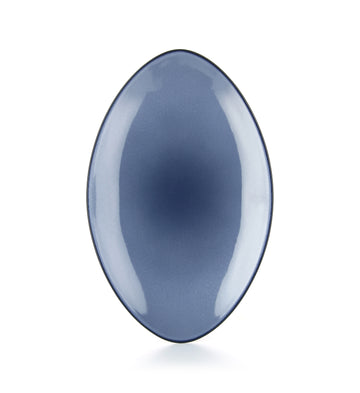 eRevol 13.75 inch oval serving dish; made of porcelain and glazed in glossy variations of blue.