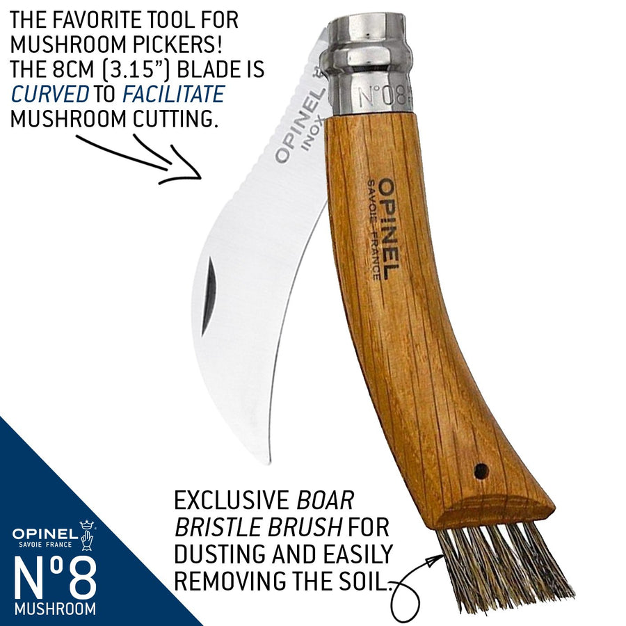 Opinel Oak Mushroom Knife with Brush