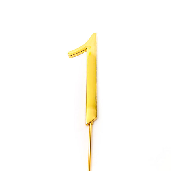Metal cake topper with the number 1 in Gold