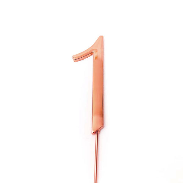 Metal cake topper with the number 1 in Rose Gold
