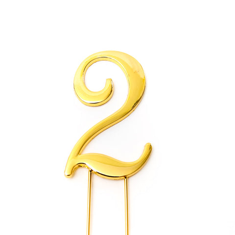 Metal cake topper with the number 2 in Gold