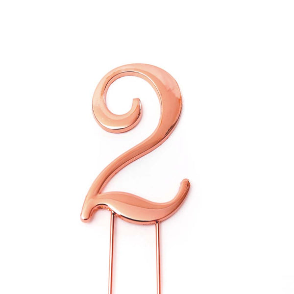 Metal cake topper with the number 2 in Rose Gold