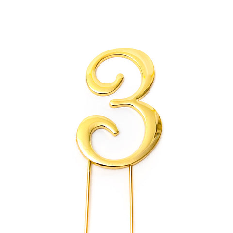 Metal cake topper with the number 3 in Gold
