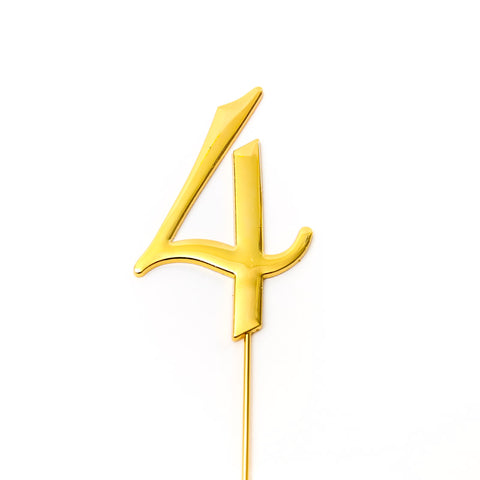 Metal cake topper with the number 4 in Gold