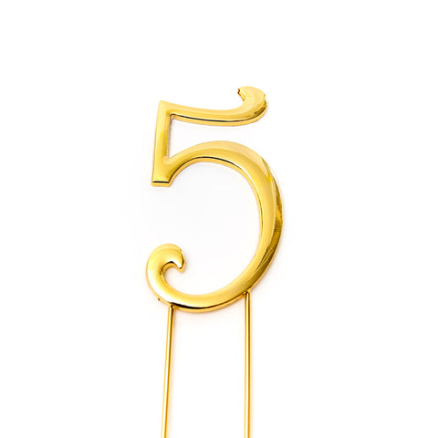Metal cake topper with the number 5 in Gold