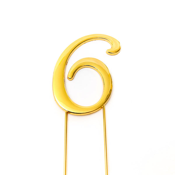 Metal cake topper with the number 6 in Gold