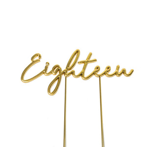 Metal cake topper with the word Eighteen in Gold