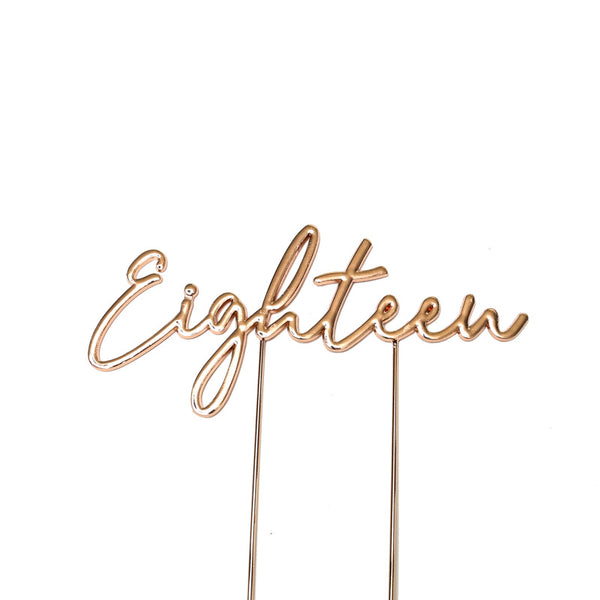 Metal cake topper with the word Eighteen in Rose Gold