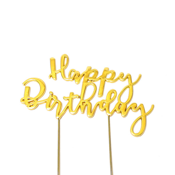 Metal cake topper with the words Happy Birthday in Gold