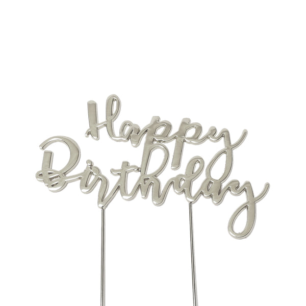 Metal cake topper with the words Happy Birthday in Silver