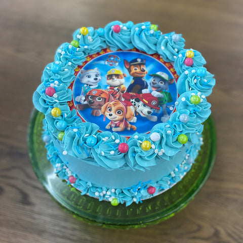 Iced Cake with licensed image by Sweet Creations, Blenheim, New Zealand