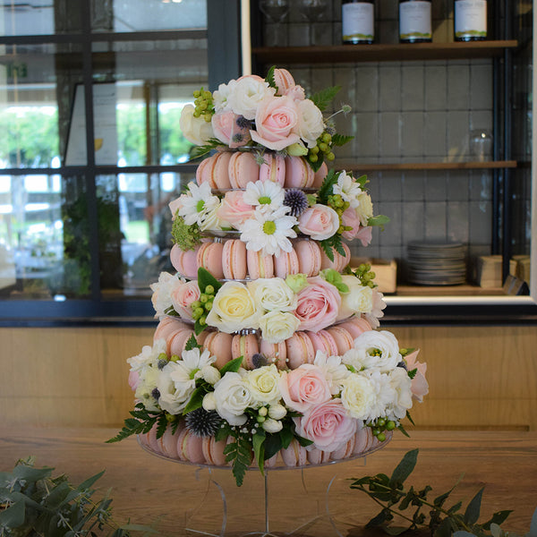 Macaron Tower with flowers by Sweet Creations, Blenheim, New Zealand