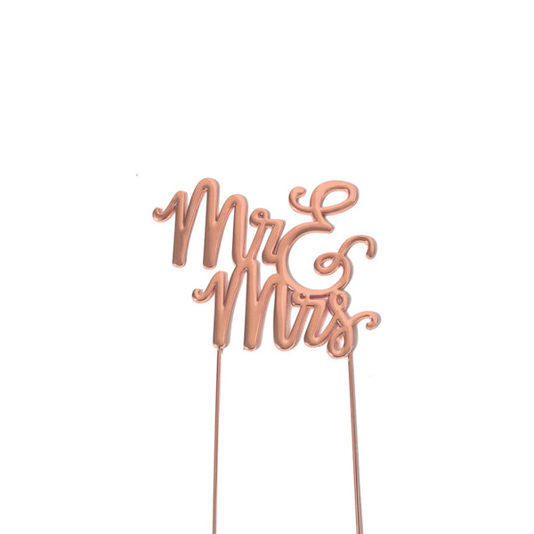Metal cake topper with the words Mr & Mrs in Rose Gold