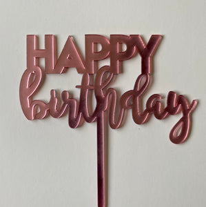 Pink plastic Happy Birthday cake topper