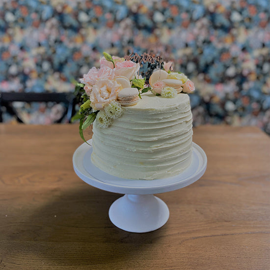 Rustic textured half floral cake from Sweet Creations NZ