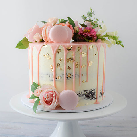 Semi Naked, half floral & Macarons floral cake from Sweet Creations NZ