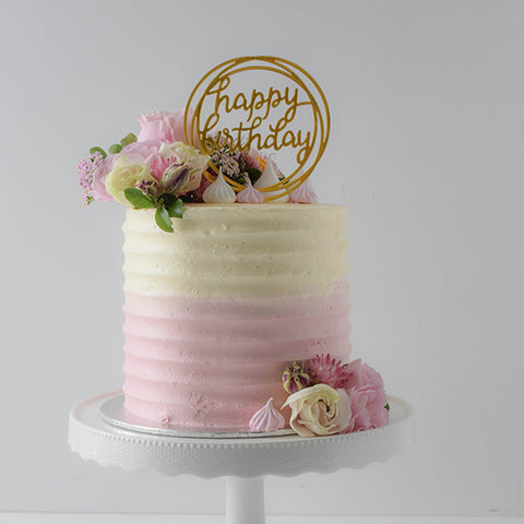 Smooth lines 2 colours half floral cake from Sweet Creations NZ