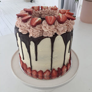 Vanilla and Strawberry Layer Cake with Chocolate drip by Sweet Creations, Blenheim, New Zealand