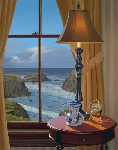 Warm Interior evening scene with vintage lamp and soft warm light, looking out a window upon an seascape