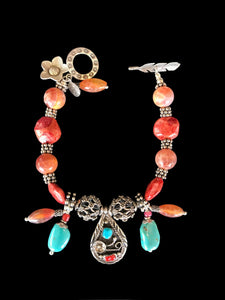 """Coral Bracelet, with Turquoise"""