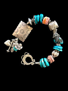 """Sterling Silver & Turquoise Bracelet, with Spiny Oyster"""