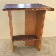 "Load image into Gallery viewer, ""Live Edge, Walnut & Curly Maple Side Table"""